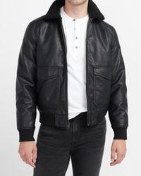 Express Sherpa Collar Faux Leather Bomber Jacket - Black