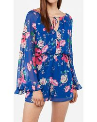 Express Floral Ruffle Romper Blue Print