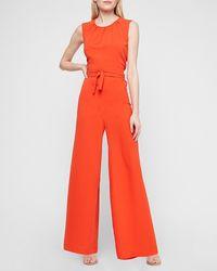 Express Open Back Wide Leg Palazzo Jumpsuit Orange Xxs