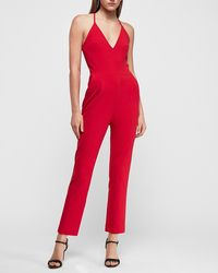 Express Deep V-neck Cross Back Cami Jumpsuit Red