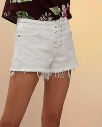 Express Mid Rise Lace-up Cutoff Jean Shorts White 2