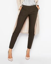 Express - Low Rise Ankle Pintuck Columnist Pant Green - Lyst