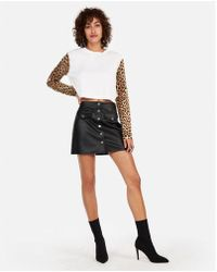 Express - High Waisted Faux Leather Snap Front Mini Skirt - Lyst