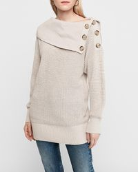 Express Thermal Knit Off The Shoulder Button Oversized Tunic Jumper Neutral - Natural