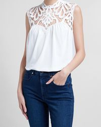 Express Crochet Lace Pieced Tank Ivory - White