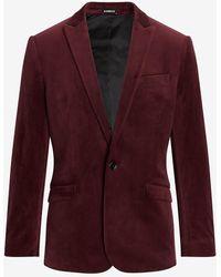 Express Slim Solid Burgundy Velvet Tuxedo Jacket Brown 36 Short