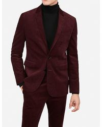 Express Extra Slim Burgundy Corduroy Suit Jacket Red 38 Long