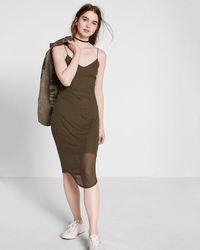 Express Ribbed Sheer Midi Dress - Green