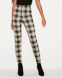 f84958ba959581 Express - High Waisted Pull-on Plaid Leggings Black And White - Lyst