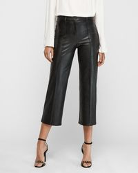 Express High Waisted Faux Leather Straight Cropped Pant Black 00 Short