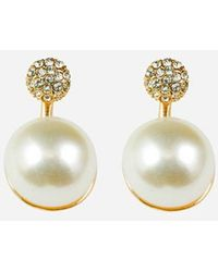 Express Sterling Forever Cubic Zirconia Pearl Drop Earrings Gold - Metallic