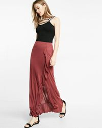 Express Ruffle Front Wrap Maxi Skirt - Red