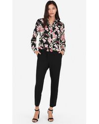 Express Slim Fit Floral Portofino Shirt Black Print Xxs