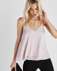 Express Double Layer Choker Cami - Pink