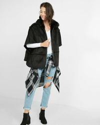 Express Faux Shearling Hooded Poncho - Black