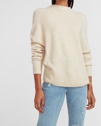 Express Mock Neck Oversized Tunic Sweater Neutral Xs - Natural
