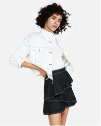 Express - Denim Ruffle Mini Skirt - Lyst