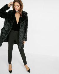 Express Long Black Faux Fur Coat