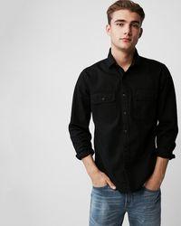 Express Slim Herringbone Military Overshirt Black