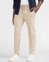 Express Solid Knit Cargo Sweatpants - Natural
