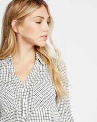 Express Slim Fit Windowpane Print Portofino Shirt - Black
