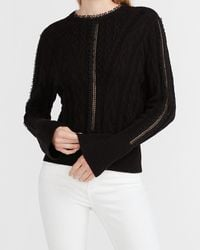 Express Cozy Cable Knit Open Stitch Sweater Black Xs