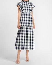 Express Ladygang Gingham Print Maxi Dress Print - Blue