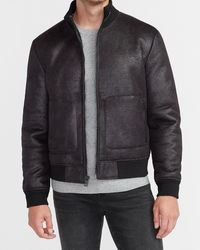Express Black Faux Leather Sherpa Lined Bomber Jacket