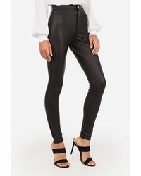 Express High Waisted Faux Leather Five Pocket Leggings Pitch Black