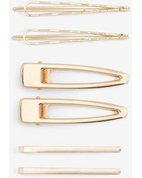 Express Set Of 6 Assorted Gold Clips Gold - Metallic