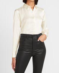 Express Satin Portofino Shirt Ivory - White