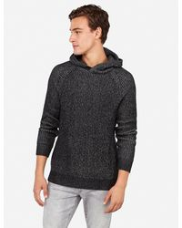 Express Waffle Popover Hooded Sweater Black Xs
