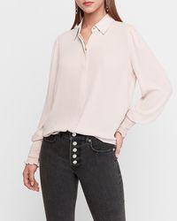 Express Smocked Cuff Portofino Shirt Pink Xs