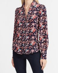Express Floral Hi-lo Button Side Puff Sleeve Portofino Shirt Grey Print - Multicolour