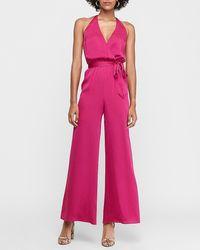 Express Satin Wrap Front Halter Neck Wide Leg Palazzo Jumpsuit Dftcolor - Pink