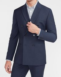 Express Slim Navy Double Breasted Modern Tech Suit Jacket - Blue