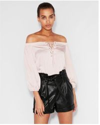 Express - Satin Off The Shoulder Lace-up Bikini Bodysuit - Lyst