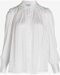 Express Metallic Pleated Puff Sleeve Shirt Ivory - White