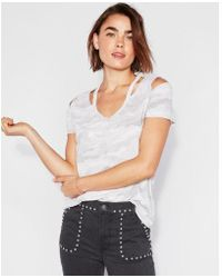Express - One Eleven Camo Burnout Slash Neck Tee - Lyst