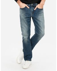 Express Classic Straight Hyper Stretch Jeans, Size:w42 L34 - Blue