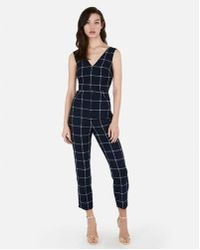 0fa83ff1ede Express - Windowpane Print V-neck Jumpsuit - Lyst