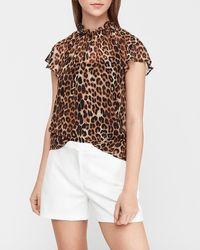 Express Leopard Print Ruffle Mock Neck Sheer Top Brown Xs