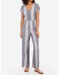 Express Striped Button Front Tie Back Culotte Jumpsuit Blue Stripe