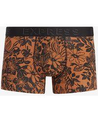 Express Orange Floral Sport Trunks Brown M