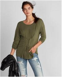 Express - Lace-up Corset Front Tee - Lyst