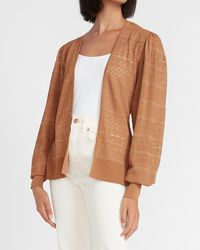 Express Belted Open Stitch Cardigan Tan - Brown