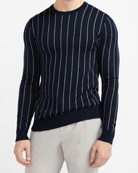 Express Striped Merino Wool-blend Crew Neck Sweater - Blue
