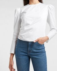 Express Puff Sleeve Wrap Front Top White
