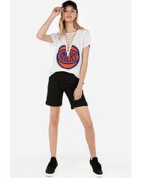 Express New York Knicks Nba Lace-up Tee White