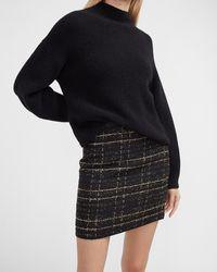 Express High Waisted Metallic Textured Tweed Mini Skirt Neutral Print 6 - Black